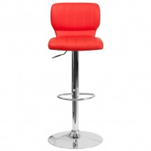 Flash Furniture CH-132330-RED-GG Contemporary Red Vinyl Adjustable Height Barstool with Vertical Stitch Back and Chrome Base addl-3