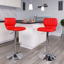 Flash Furniture CH-132330-RED-GG Contemporary Red Vinyl Adjustable Height Barstool with Vertical Stitch Back and Chrome Base addl-4