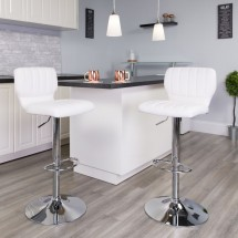 Flash Furniture CH-132330-WH-GG Contemporary White Vinyl Adjustable Height Barstool with Vertical Stitch Back and Chrome Base addl-4