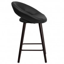 Flash Furniture CH-152551-BK-VY-GG Kelsey Series Cappuccino Wood Counter Height Stool with Black Vinyl Seat 24 addl-1