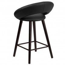 Flash Furniture CH-152551-BK-VY-GG Kelsey Series Cappuccino Wood Counter Height Stool with Black Vinyl Seat 24 addl-2