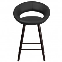 Flash Furniture CH-152551-BK-VY-GG Kelsey Series Cappuccino Wood Counter Height Stool with Black Vinyl Seat 24 addl-3