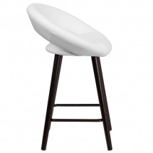 Flash Furniture CH-152551-WH-VY-GG Kelsey Series Cappuccino Wood Counter Height Stool with White Vinyl Seat 24 addl-1