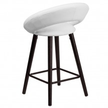 Flash Furniture CH-152551-WH-VY-GG Kelsey Series Cappuccino Wood Counter Height Stool with White Vinyl Seat 24 addl-2