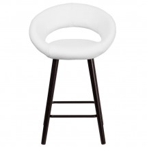 Flash Furniture CH-152551-WH-VY-GG Kelsey Series Cappuccino Wood Counter Height Stool with White Vinyl Seat 24 addl-3