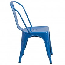 Flash Furniture CH-31230-BL-GG Blue Metal Indoor-Outdoor Stackable Chair addl-1