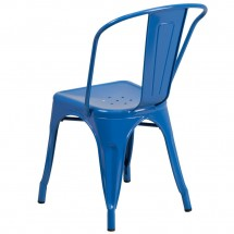 Flash Furniture CH-31230-BL-GG Blue Metal Indoor-Outdoor Stackable Chair addl-2