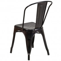 Flash Furniture CH-31230-BQ-GG Black-Antique Gold Metal Indoor-Outdoor Stackable Chair addl-2