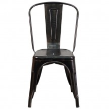 Flash Furniture CH-31230-BQ-GG Black-Antique Gold Metal Indoor-Outdoor Stackable Chair addl-3