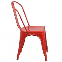 Flash Furniture CH-31230-RED-GG Red Metal Indoor-Outdoor Stackable Chair addl-1