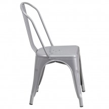 Flash Furniture CH-31230-SIL-GG Silver Metal Indoor-Outdoor Stackable Chair addl-1