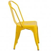 Flash Furniture CH-31230-YL-GG Yellow Metal Indoor-Outdoor Stackable Chair addl-1