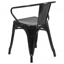 Flash Furniture CH-31270-BK-GG Black Metal Indoor-Outdoor Chair with Arms addl-2