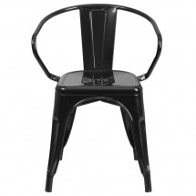 Flash Furniture CH-31270-BK-GG Black Metal Indoor-Outdoor Chair with Arms addl-3