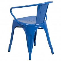 Flash Furniture CH-31270-BL-GG Blue Metal Indoor-Outdoor Chair with Arms addl-2