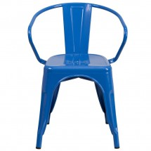 Flash Furniture CH-31270-BL-GG Blue Metal Indoor-Outdoor Chair with Arms addl-3