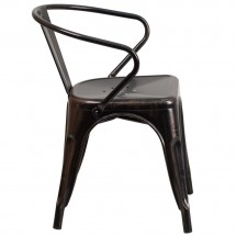 Flash Furniture CH-31270-BQ-GG Black-Antique Gold Metal Indoor-Outdoor Chair with Arms addl-1