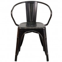 Flash Furniture CH-31270-BQ-GG Black-Antique Gold Metal Indoor-Outdoor Chair with Arms addl-3