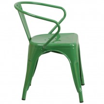 Flash Furniture CH-31270-GN-GG Green Metal Indoor-Outdoor Chair with Arms addl-1