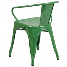 Flash Furniture CH-31270-GN-GG Green Metal Indoor-Outdoor Chair with Arms addl-2