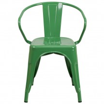 Flash Furniture CH-31270-GN-GG Green Metal Indoor-Outdoor Chair with Arms addl-3