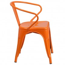 Flash Furniture CH-31270-OR-GG Orange Metal Indoor-Outdoor Chair with Arms addl-1