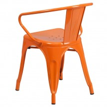 Flash Furniture CH-31270-OR-GG Orange Metal Indoor-Outdoor Chair with Arms addl-2
