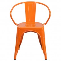Flash Furniture CH-31270-OR-GG Orange Metal Indoor-Outdoor Chair with Arms addl-3