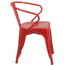 Flash Furniture CH-31270-RED-GG Red Metal Indoor-Outdoor Chair with Arms addl-1