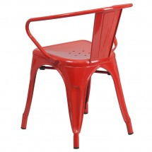 Flash Furniture CH-31270-RED-GG Red Metal Indoor-Outdoor Chair with Arms addl-2