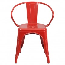 Flash Furniture CH-31270-RED-GG Red Metal Indoor-Outdoor Chair with Arms addl-3