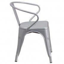 Flash Furniture CH-31270-SIL-GG Silver Metal Indoor-Outdoor Chair with Arms addl-1