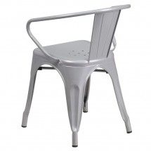 Flash Furniture CH-31270-SIL-GG Silver Metal Indoor-Outdoor Chair with Arms addl-2