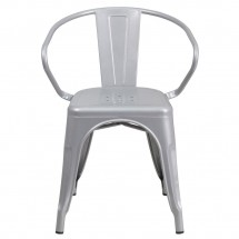 Flash Furniture CH-31270-SIL-GG Silver Metal Indoor-Outdoor Chair with Arms addl-3