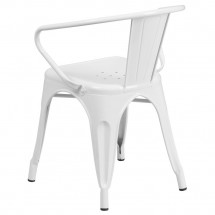 Flash Furniture CH-31270-WH-GG White Metal Indoor-Outdoor Chair with Arms addl-2