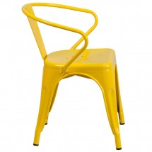 Flash Furniture CH-31270-YL-GG Yellow Metal Indoor-Outdoor Chair with Arms addl-1