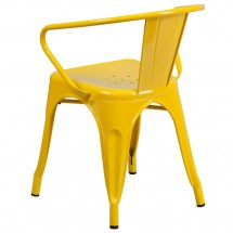 Flash Furniture CH-31270-YL-GG Yellow Metal Indoor-Outdoor Chair with Arms addl-2