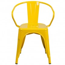 Flash Furniture CH-31270-YL-GG Yellow Metal Indoor-Outdoor Chair with Arms addl-3