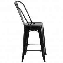 Flash Furniture CH-31320-24GB-BK-GG Black Metal Indoor-Outdoor Counter Height Stool with Square Seat and Back 24 addl-1