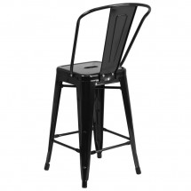 Flash Furniture CH-31320-24GB-BK-GG Black Metal Indoor-Outdoor Counter Height Stool with Square Seat and Back 24 addl-2