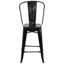 Flash Furniture CH-31320-24GB-BK-GG Black Metal Indoor-Outdoor Counter Height Stool with Square Seat and Back 24 addl-3