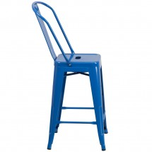 Flash Furniture CH-31320-24GB-BL-GG Blue Metal Indoor-Outdoor Counter Height Stool with Square Seat and Back 24 addl-1