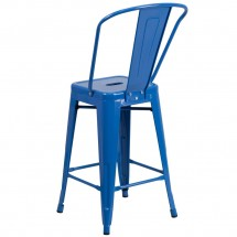Flash Furniture CH-31320-24GB-BL-GG Blue Metal Indoor-Outdoor Counter Height Stool with Square Seat and Back 24 addl-2