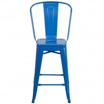 Flash Furniture CH-31320-24GB-BL-GG Blue Metal Indoor-Outdoor Counter Height Stool with Square Seat and Back 24 addl-3