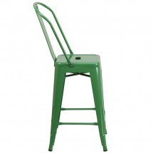Flash Furniture CH-31320-24GB-GN-GG Green Metal Indoor-Outdoor Counter Height Stool with Square Seat and Back 24 addl-1