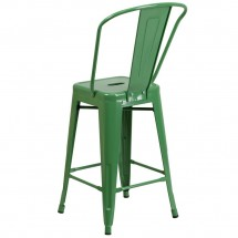 Flash Furniture CH-31320-24GB-GN-GG Green Metal Indoor-Outdoor Counter Height Stool with Square Seat and Back 24 addl-2