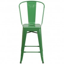 Flash Furniture CH-31320-24GB-GN-GG Green Metal Indoor-Outdoor Counter Height Stool with Square Seat and Back 24 addl-3