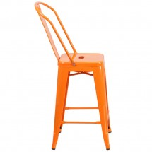 Flash Furniture CH-31320-24GB-OR-GG Orange Metal Indoor-Outdoor Counter Height Stool with Square Seat and Back 24 addl-1