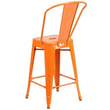 Flash Furniture CH-31320-24GB-OR-GG Orange Metal Indoor-Outdoor Counter Height Stool with Square Seat and Back 24 addl-2