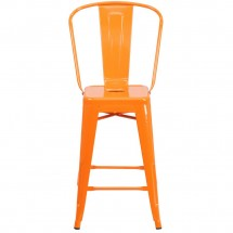 Flash Furniture CH-31320-24GB-OR-GG Orange Metal Indoor-Outdoor Counter Height Stool with Square Seat and Back 24 addl-3